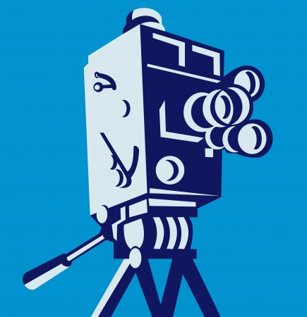 Illustration of a vintage film movie video camera viewed from low angle set inside square done in retro style  Vector