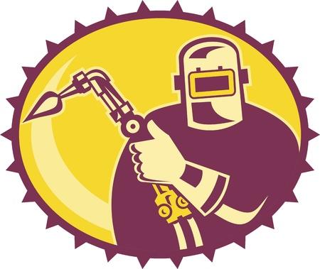 elipsy: Ilustracja łgarz pracownika spawacza z palnikiem spawalniczym ustawiony wewnątrz elipsy wykonane w stylu retro Ilustracja