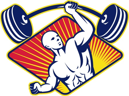 Illustration of a male weight lifter body builder lifting barbell weights  set inside diamond shape done in retro style  Vector