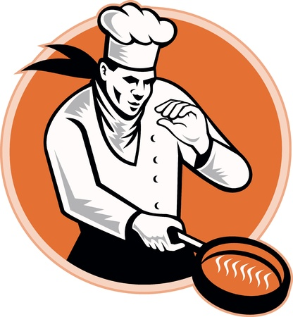 frying pan: Retro illustration of a chef cook cooking with frying pan set inside circle on isolated white background.