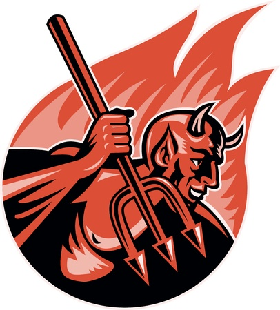 Retro Illustration eines Dämon Teufel mit Dreizack Forke gesetzt Inneren Flamme, Feuer Form auf weißem Hintergrund isoliert. Vektorgrafik