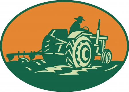 man in field: Retro illustration of a farmer worker driving a vintage farm tractor plowing field set inside ellipse.