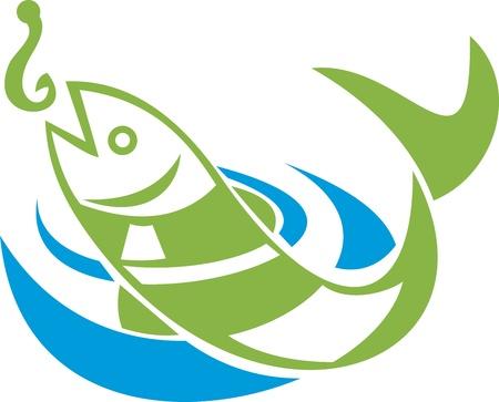 fische: Retro Darstellung eines springenden Fisch als K�der Haken auf wei�em Hintergrund isoliert.