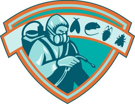 Retro Ilustración de un trabajador de exterminador de control de plagas fumigación con ratas, ratones, ratones, moscas, insectos, cucarachas conjunto dentro de escudo sobre fondo blanco.