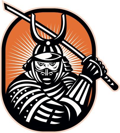 guerrero samurai: Retro ilustraci�n de un guerrero samurai blandiendo la espada katana hacia el frente conjunto dentro de elipse.