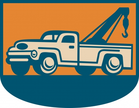 the wrecker: Retro illustration of a vintage tow wrecker pickup truck viewed from side.