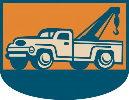 pickup truck: Retro ilustraci�n de un antiguo cami�n de remolque camioneta gr�a visto desde el lado. Vectores