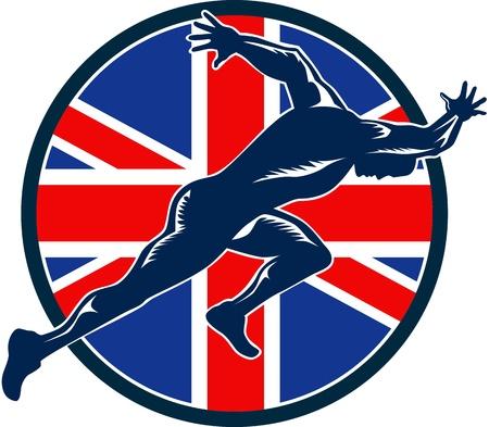 running track: Retro illustratie van een loper sprinter loopt sprinten van opzij gezien met Union Jack Groot-Brittannië Britse vlag set binnen schild op witte achtergrond.