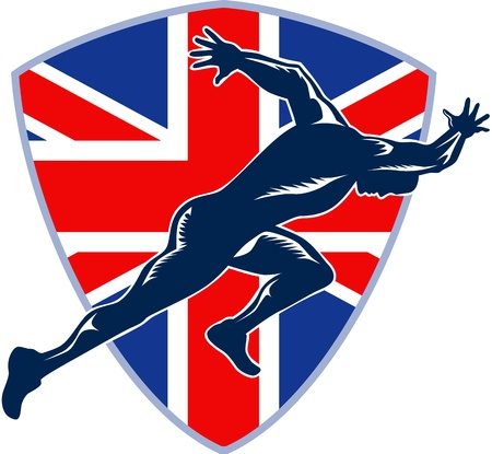 Retro illustration of a runner sprinter running sprinting viewed from side with union jack Great Britain British flag set inside shield on isolated white background. Vector