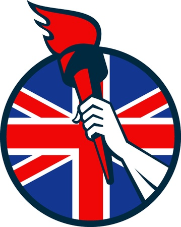 Retro illustration of an athlete hand holding a flaming torch with union jack Great Britain British flag set inside circle on isolated white background. Vector