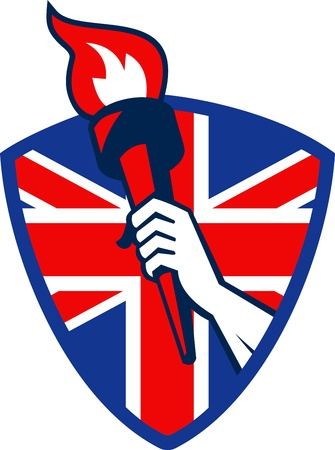 Retro illustration of an athlete hand holding a flaming torch with union jack Great Britain British flag set inside shield on isolated white background.  Vector