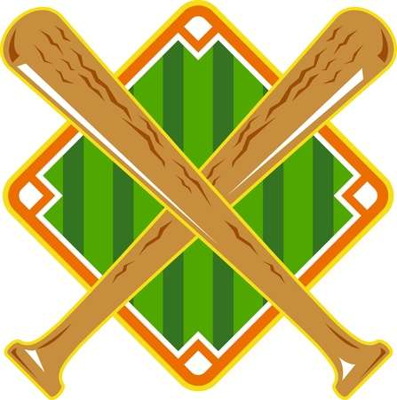 Illustration of a baseball diamond with crossed bat done in retro style on isolated white background.