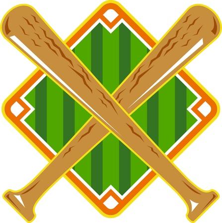 beisbol: Ilustración de un diamante de béisbol con el palo cruzado hecho en estilo retro en el fondo blanco aislado.