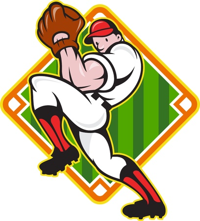 pitcher: Cartoon illustration of a baseball player pitcher pitching ball facing front with diamond field in background.