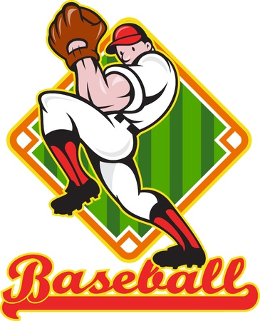 Cartoon illustration of a baseball player pitcher pitching ball facing front with diamond field in background with text wording