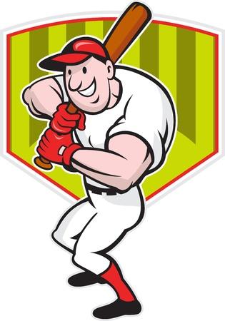 baseball diamond: Cartoon ilustraci�n de un jugador de b�isbol con bate bate frente a frente con el diamante en el fondo.