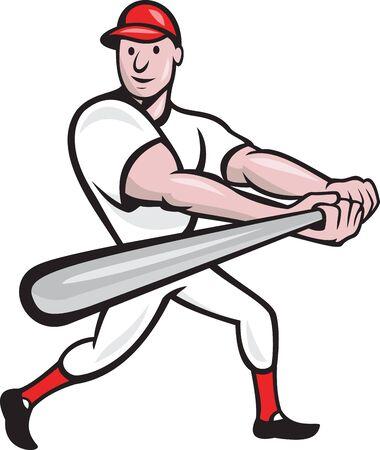 bateo: Cartoon ilustraci�n de un jugador de b�isbol con bate bate de frente en fondo blanco aislado.