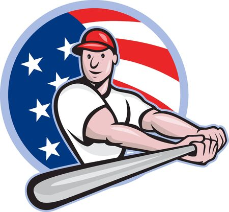 Cartoon illustration of a baseball player with bat batting facing front set inside circle with stars and stripes flag in the background.