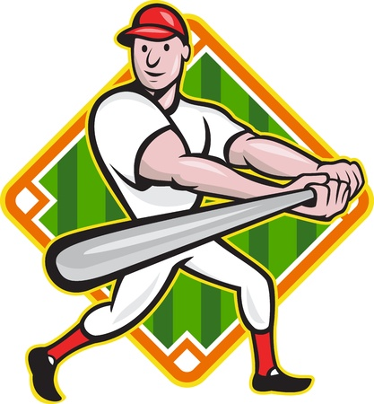 Cartoon illustration of a baseball player with bat batting facing front with diamond in background.