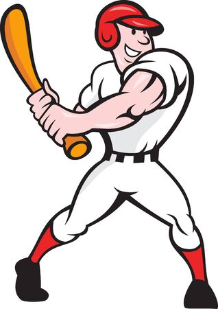Cartoon illustration of a baseball player with bat batting facing front on isolated white background. Vector
