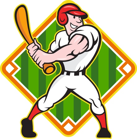man in field: Cartoon illustration of a baseball player with bat batting facing front on isolated white background with diamond baseball field.