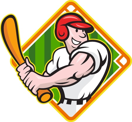 Cartoon illustration of a baseball player with bat batting facing front on isolated white background with diamond baseball field.  Vector