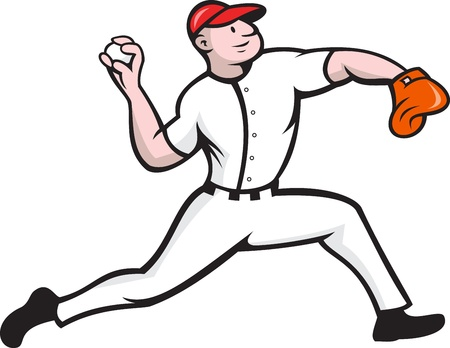 pitching: Cartoon illustration of a baseball player pitcher pitching ball facing side on isolated white background.  Illustration