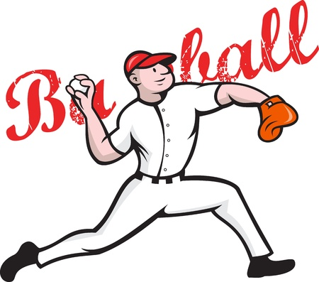 Cartoon illustration of a baseball player pitcher pitching ball throwing ball on isolated white background with words baseball.  Vector