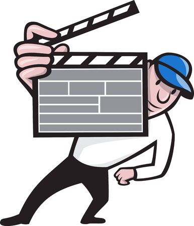 Cartoon illustration of a movie film director holding up a clapboard viewed from front on isolated white background. Vector