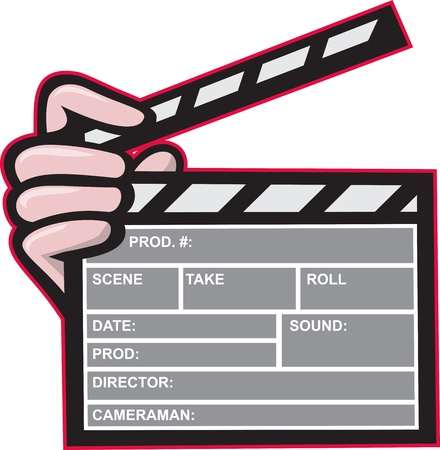 clapper board: Illustration of a clapboard clapper clapperboard front view with hand holding on isolated white background.