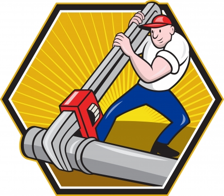 Cartoon illustration of a plumber worker repairman tradesman with adjustable monkey wrench repairing pipeline tubing pipes set inside hexagon.  Illustration
