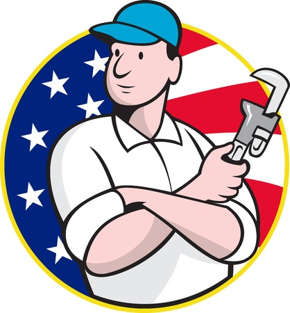 plumbers: Cartoon illustration of an American plumber worker repairman tradesman with adjustable monkey wrench set inside circle with stars and stripes flag.
