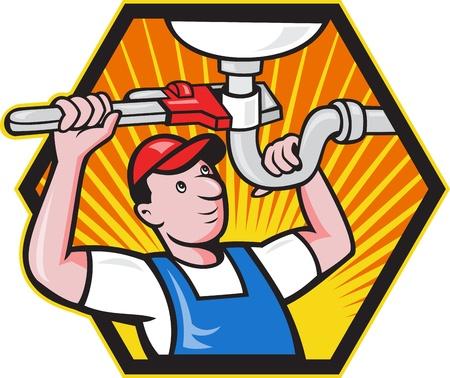 loodgieterswerk: Cartoon illustratie van een loodgieter werknemer reparateur handelaar met verstelbare roet repareren badkamer wastafel set binnen zeshoek.