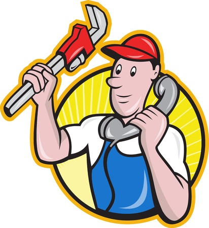 plumbers: Cartoon illustration of a plumber worker repairman tradesman with adjustable monkey wrench talking on telephone phone set inside circle.