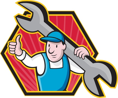 spanner: Cartoon illustration of a mechanic worker carrying giant spanner wrench holding thumb up set inside hexagon.