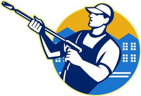 Ilustración de un trabajador con pistola de agua a presión rociador de la energía de lavado rociado establece dentro del círculo hecho en estilo retro.