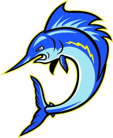 sailfish: Мультфильм иллюстрация парусник рыба-меч прыжки смотреть со стороны на белом фоне. Иллюстрация