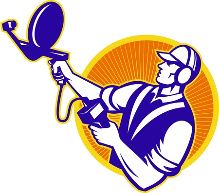 locating: Illustration of an engineer technician pointing with ultrasound sonar satellite dish viewed from the side set inside circle done in retro style.