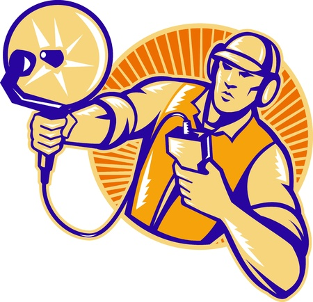 probing: Illustration of an engineer technician pointing with ultrasound sonar satellite dish viewed from the side set inside circle done in retro style.