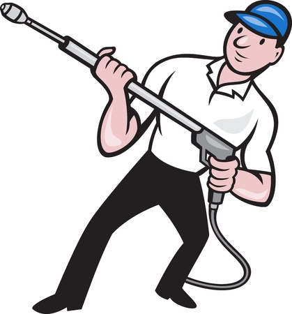 Illustration of a worker with water blaster pressure power washing sprayer spraying set inside circle done in cartoon style.  Illustration