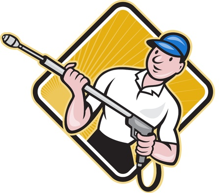 pressure: Illustration of a worker with water blaster pressure power washing sprayer spraying set inside circle done in cartoon style.   Illustration
