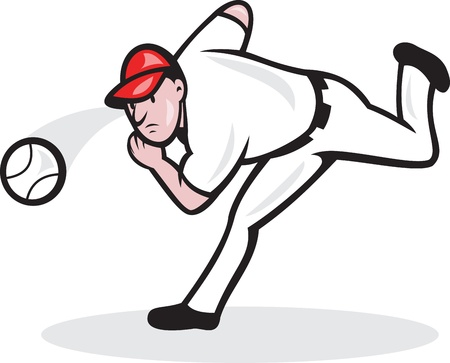 Illustration of a american baseball player pitcher throwing ball cartoon style isolated on white background. Vector