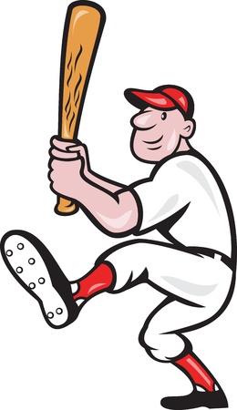 bateo: Ilustraci�n de un estilo de jugador de b�isbol estadounidense de dibujos animados de bateo aislado sobre fondo blanco.
