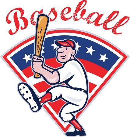 bateo: Ilustraci�n de un estilo de jugador de b�isbol estadounidense de dibujos animados de bateo aislado en blanco con estrellas y franjas establecidas en el interior de forma de abanico con el b�isbol texto redacci�n.