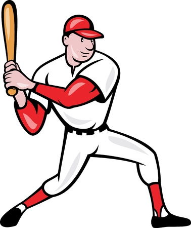 Illustration of a american baseball player batting cartoon style isolated on white background. Stock Vector - 14629288