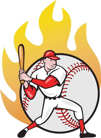 batter: Illustration of a american baseball player batting cartoon style isolated on white with ball on fire in background.