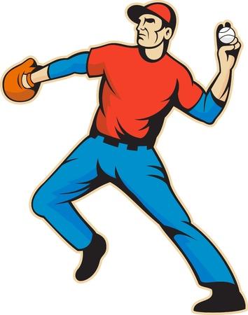 Ilustración de una pelota de béisbol jardinero americano jugador que lanza aislado en el fondo blanco.