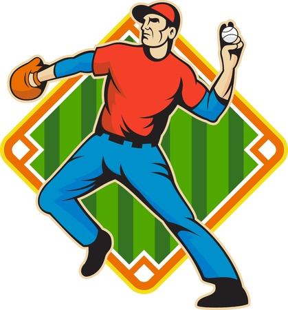 baseball diamond: Ilustraci�n de una pelota de b�isbol el jardinero americano jugador que lanza aisladas sobre fondo blanco conjunto dentro de la forma de campo de diamantes.