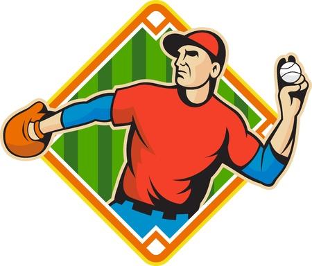 baseball diamond: Ilustraci�n de una pelota de b�isbol jardinero americano jugador que lanza aislado en el fondo blanco que est� situado en el interior de forma del campo de diamantes. Vectores