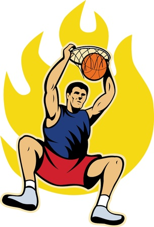 dunking: Illustration of a basketball player dunking ball with fire fireball on isolated white background.